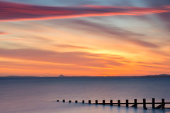 Portobello Telephoto (Simon Wootton) Tags: edinburgh sunrise sea water groynes beech portobello sand horizon colour scotland