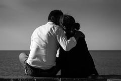 Cefalu Lovers (parenthesedemparenthese@yahoo.com) Tags: dem bw backlighting blackwandwhite cefalu couple ete kiss landscape monochrome nb noiretblanc sky arms baiser bras canoneos600d ciel cotes day ef50mmf18ii exterieur hug italia italie italy journée mer outdoors paisible paysage peacefull sea seashore sicile sicilia summer étreinte été