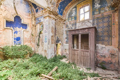 The Blue Cross (ProfShot - Perry Wiertz) Tags: urban urbex church kirche decayed decay old dust rust abandoned architecture collapsed roof cross window painting paintings grass overgrown door stones derelict dark hidden lost forgotten forbidden forest traveling travel shadow light
