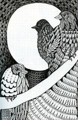 Nightbirds (molossus, who says Life Imitates Doodles) Tags: zentangle zentangleinspiredart rhodiarama clairefontaine tombow fudenosuke penandink