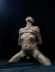 c- kneel (shibarigarraf) Tags: shibari bondage kinbaku shibarigarraf male rope bound