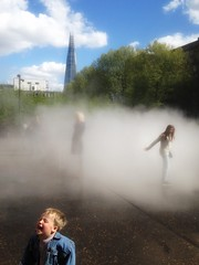 Laughing Gas (Nad) Tags: iphone street water spray laugh child boy mist cloud shard london art