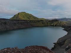 "Hnausapollur Crater (Say ""Wasabi"") Tags: veiðivötn litlavíti bláhylur hnausapollur landmannalaugar iceland scenery olympus m43 mzuiko1240 omdem5ii blue green water lake crater volcanic volcano surreal calm still landscape"