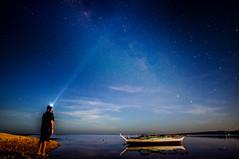 Up Above (alien_scream) Tags: sky up stars milkyway beach water boat light blue burias philippines alienscream