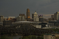 Home of the Cincinnati Bengals (NFL) & central business district, blue hour (ucumari photography) Tags: ucumariphotography cincinnati ohio april 2017 bengals stadium nfl centralbusinessdistrict dsc1285