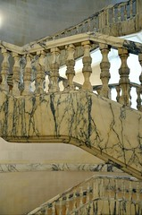 railing, staircase (mcfcrandall) Tags: marble curved staircase artgallery bucharest romania carpet lines railing