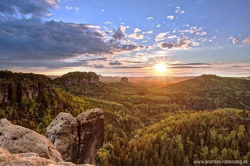 Sunset over saxon switzerland