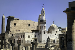 Abu Haggag Mosque.. (areyarey) Tags: africa old travel sky building tower history tourism archaeology monument stone wall architecture religious outdoors temple ancient ruins call exterior symbol time northafrica minaret musl