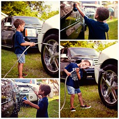 car wash (Kris Oneal Photography) Tags: summer white black water car truck outdoors kid soap child armada spray carwash rims sponge escalade waterhose 3yearold