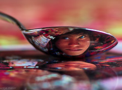 Indian girl in a teaspoon (antje.m) Tags: red india color girl postcard spoon reflexions teaspoon olivierfllmi