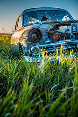 These Half Truths (waynerd) Tags: old morning canada cars abandoned field car metal rural sunrise vintage kyle twilight antique rusty chrome saskatchewan discarded prairies derelict automobiles kylesaskatchewan