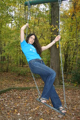 Vv_9609 On the swing (grail76) Tags: park woman feet girl toes sandals swing jeans balance brunette