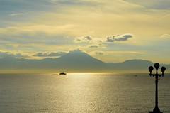 Serenity (HervelineG) Tags: morning italy seascape clouds italia streetlamp napoli naples nuages italie mediterraneansea lampadaire matin