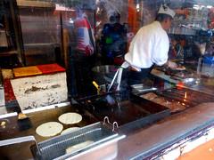 La Noche Buena (~db~) Tags: california urban food usa kitchen america restaurant la losangeles downtown unitedstates cook eat socal chef griddle downtownla tortilla olverastreet elpueblo lanochebuena s6100100dscn7205