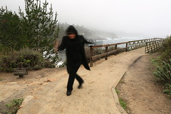 Black Hooded Figure on the Point Lobos pathway (LOLO Italiana) Tags: bridge selfportrait seascape nature landscape footbridge pacificocean centralcoast pointlobos pathway remoteshutterrelease loloitaliana loridambrosio blackhoodedfigure pointlobosseashore