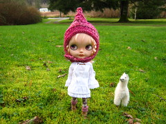 IMG_3168...Zuzu...new peony hat...alpaca...green grass...almost spring!