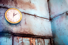 Time Stands (JohnsHonours) Tags: door wood flowers blue light colour clock window lines silhouette canon sheep time farm shed australia shaddow cobweb fabric numbers flare homestead blackboard shearing 24105mm 5dmarkiii 5diii