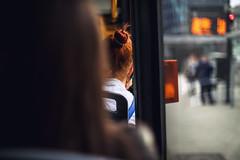 ginger (ewitsoe) Tags: tram ride redhead redhair ginger woman lady girl passanger ewitsoe erikwitsoe canon eos5ds 50mm street city fullframe light bokeh cityscape urban poznan poland train window blur spring