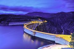 El Atazar (just_lightshots) Tags: landscape nature natureshot engineering civilengineering nightshot blue lights natur dam archdam bluehour