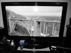 "3 April 2017 · ""Big Little Lies"" finale (tripu) Tags: 2017 april dailyphoto blackandwhite bw colour effect retouched spain madrid lastablas home livingroom evening tv tux rubik rubikcube closeup series bridge opening biglittlelies finale"