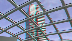 Station The Hague 3D (wim hoppenbrouwers) Tags: station thehague 3d anaglyph stereo redcyan roof cs citytower denhaag babylon