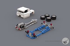 Show Stopper Rod modular - 10-wide - Lego (Sir.Manperson) Tags: lego hot rod lfa engine chassis ldd render yee