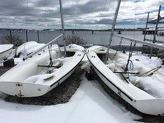 "Boats full of 10"" new snow (Yarmouth High School Sailing) Tags: yarmouth latch string regatta 2017"