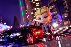 Agent Gil (GaleXV) Tags: jfigure bfigure nendoroid goodsmilecompany the6ix toronto night nightlights buildings cars bmw roadster typemoon fategrandorder fatego fgo fatestaynight saber gilgamesh archer nikon d3100 toyphotography outdoor