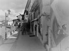 the riverside walk (b&w) (SM Tham) Tags: asia malaysia malacca melaka unescoworldheritagesite malaccariver riverside walkway promenade buildings lamppost bollards people outdoors blackandwhite monochrome vignette pots plants cruiseboat