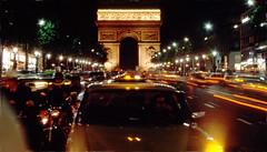 Remembering Paris (Rikx) Tags: champselysees paris night arcdetriomphe 35mmfilm film colourslide ektachrome