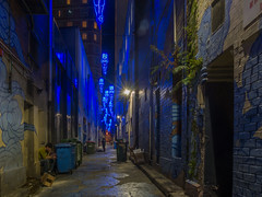 Kimber Lane 4-2 [Explore April 02, 2017 #224] (Mariasme) Tags: night lane kimberlane sydney blue lights sculptures angels longexposure friendlychallenges