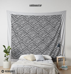 Wall_Tapestry_Coldmonster (coldmonster) Tags: monochrom monochromatic grayscale onecolor onecolour achromatic zigzag line black geometry geometric lines triangle triangles angle angles simple simply graphic graphics diagonal diagonals sharp contrast angular coldmonster abstract fashion pattern trend artsy redbubble print tshirt design art unique original