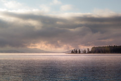 yellowstone lake morning (Christian Collins) Tags: ef70200mmf4lusm yellowstone lake sunrise morning wyoming national park parque amanecer water sun trees clouds sky