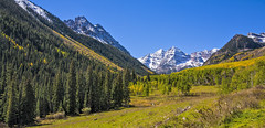 Beautiful Bells (subgenius1) Tags: colorado maroonbells snow forest aspen conifer rock rockymountains canon absolutelystunningscapes trees west water 14ers pyramidpeak