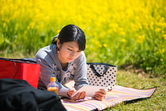 Young woman relaxing on picnic blanket (Apricot Cafe) Tags: img24623 2024years asia asianandindianethnicities canonef85mmf18usm japan japaneseethnicity tokyojapan tokyobay bag blanket casualclothing charming cheerful citylife day digitaltablet enjoyment freedom friendship grass happiness horizontal indoors leisureactivity lifestyles looking lyingdown meadow mustardplant oneperson onlywomen outdoors petbottle photography picnic publicpark relaxation relaxing screen smiling springtime tea waistup weekendactivities women youngadult edogawaku tōkyōto jp