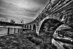 Meeting infinities (Rupam Das) Tags: nikon nikkor d810 24120mm monochrome bridge infinity sky blackandwhite bw arch stonearchbridge architecture old massive ancient rail grill edge water mississippi river connecting grass ground hdr travel
