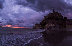 High Tide Approaches Mont Saint-Michel at Dusk (Mark Willard Photography) Tags: nikon d810 sigma fisheye vacation travel holiday normandy france mont saintmichel europe european french landscape sunset twilight dusk tide high water