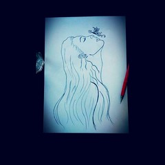 Back to the nature 🍃 (aycapekuysal) Tags: animal illustration blackpencil nature sketch blackpen butterfly women