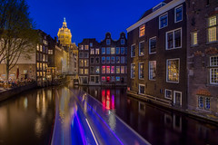 Red light district, Amsterdam (Emu Alim) Tags: netherlands nikond5 amsterdam redlightdistrict jordaan night nightphotography reflection light color