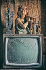 deaf to our prayers (Szydlak Szk) Tags: old abandoned derelict decay decayed decaying defunct electronics tv television mary jesus crucifiction holy figurine forgotten forlorn forsaken mansion maison deteriorated desolate dead screen sculpture urbex rurex urban urbanexploration wallpaper texture kitchen room house huize szydlak szk vintage nostalgia nostalgic dusty dust