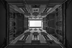 Patio (Bastian.K) Tags: budapest hungary buda pest innenhof hof ungarn 10mm56 1056 voigtländer hwh hyperwide heliar sony a7rii a7 perspective tunnel black white bw sw perspektive symmetrie symmetry