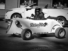 two white cabrios (heinzkren) Tags: car cabriolet white tourist wien wienna verkehr street streetphotography blackandwhite biancoetnero monochrome schwarzweis sightseeing tour bw helm open auto hotrod fun gokart driver fahrzeug city innenstadt traffic