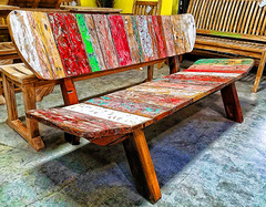 Bali Boatwood Bench (creepingvinesimages) Tags: hbm bench bali indonesia reclaimedboatwood teak antique colors samsung galaxy s7 pse14 topaz