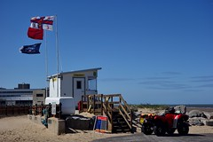 Lifeguard Station (Lydie's) Tags: quadcar fourwheeler buggy flags lifeguardstation newbrighton wirral sign ropes beach rnli