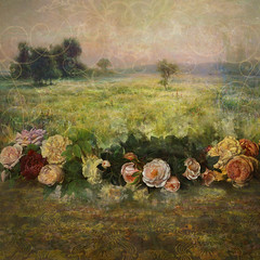 Meadow and Roses (Helen Sudds Passey) Tags: collage digitalcollage backgrounds scrapbooking antique photomanipulation composites