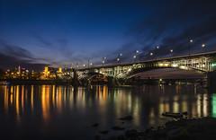 Poniatowski Bridge by night (Grzegorz Rogiński) Tags: night bridge warsaw poland poniatowski vistula river lights reflections water