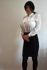 White blouse with detachable jabot, black office skirt. Breasts are 6000g/pair. (brigitta.cd) Tags: crossdresser blouse jabot breastforms