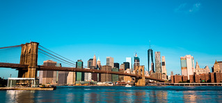 The Brooklyn Bridge and the city of New York.