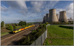 Sunny Skips (Terry 47401) Tags: 67027 67023 class67 colas skips 1q52 derby rtc circular east midalnds parkway ratcliffe power station sunny train railway cooling towers