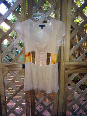 ecoprint top upcycled (chimaeracrafts) Tags: ecoprintblouse upcycledtop leafprints naturaldyes embroidered